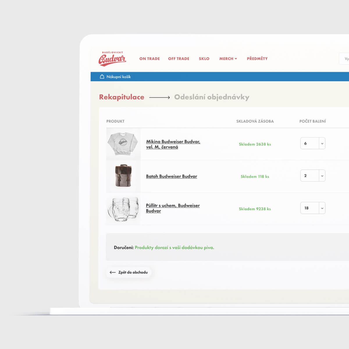User interface of the purchase process