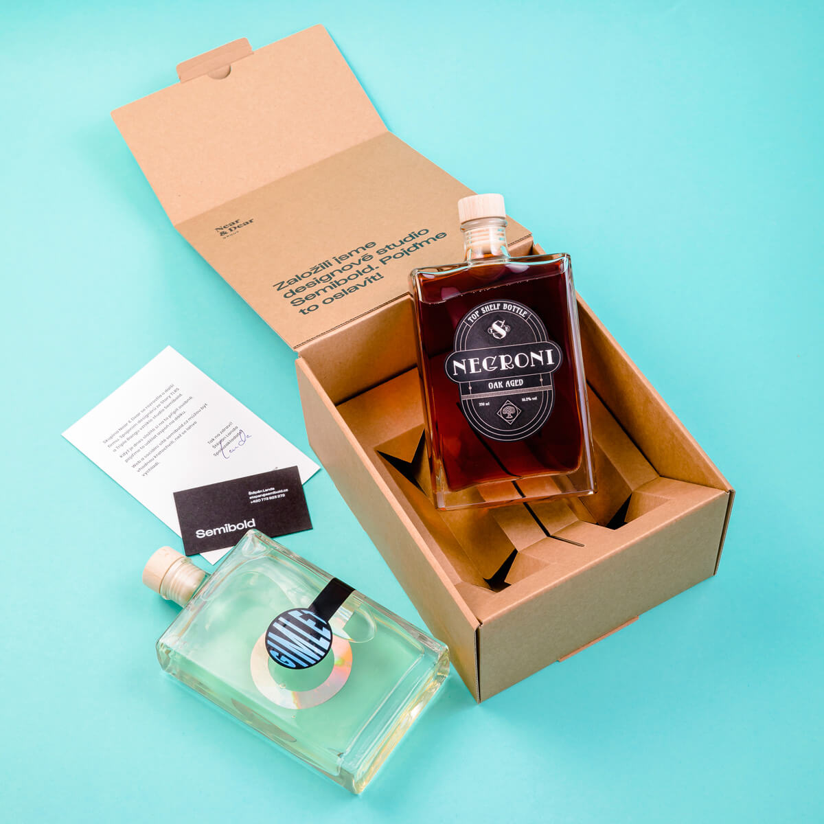 Gift box with two cocktail bottles
