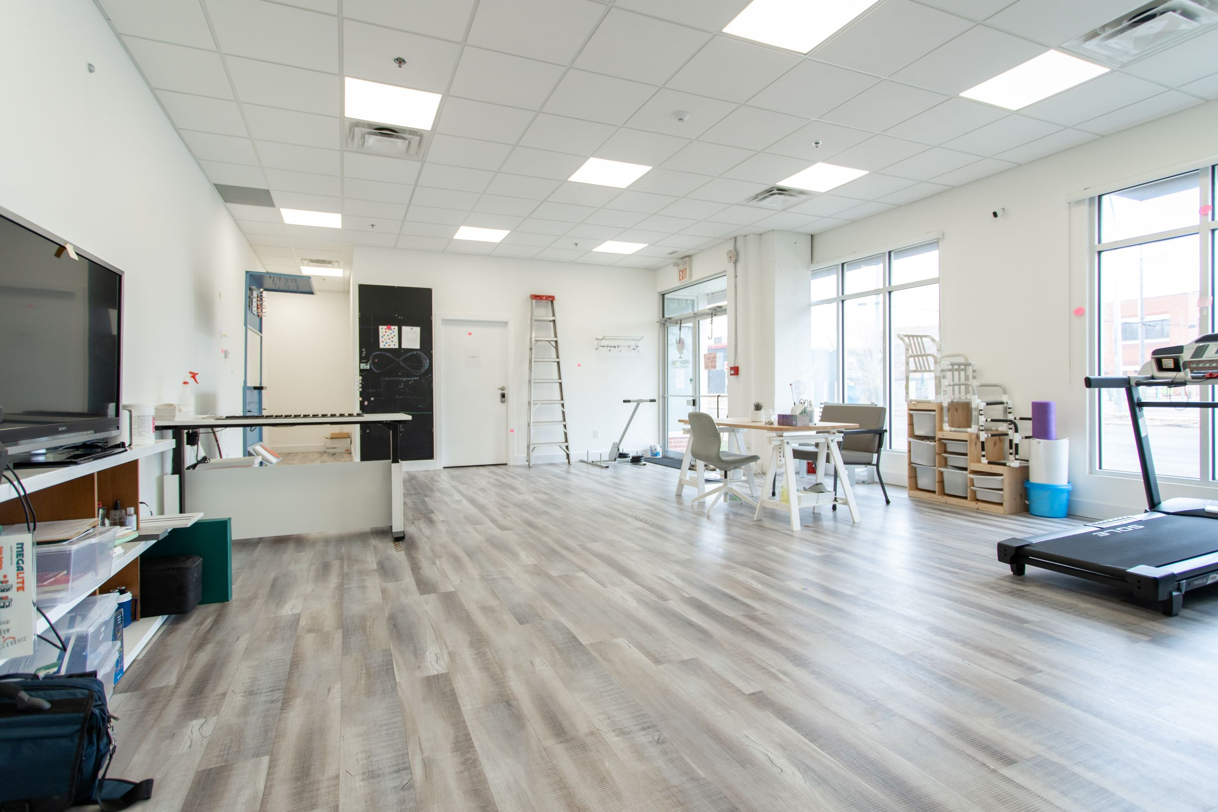 Panoramic view of clinical space on the upper level of the building