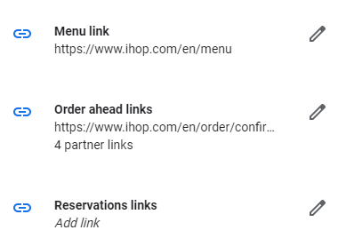 A screenshot of Google My Business' reservation links page