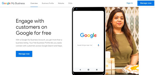 The sign-in page for Google My Business