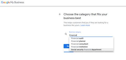 A screenshot of GMB's business category lists