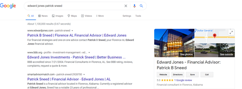A screenshot of a financial services firm's Google profile in search results