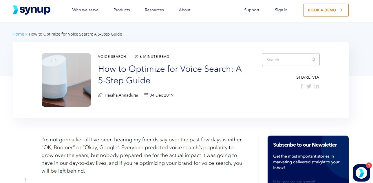 A screenshot of an article on optimizing content for voice search from Synup's blog