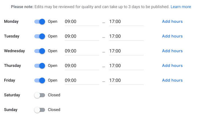 A screenshot of Google My Business' store hours editor