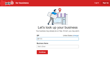 A screenshot of Manage My Listing page on Yelp