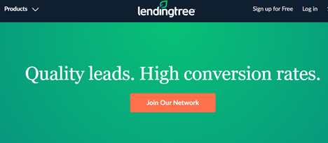 A screenshot of Lending Tree's partner portal