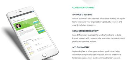 A screenshot of Lending Tree's customer page