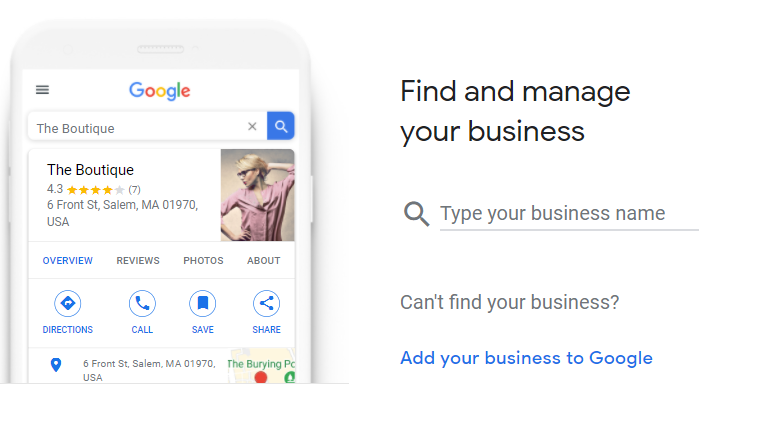 A screenshot of Google My Business' mobile interface