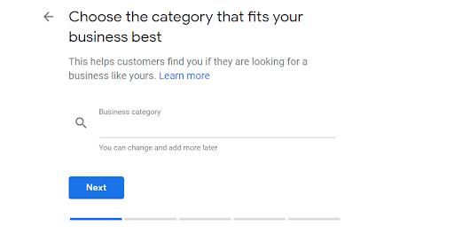 A screenshot of choose my business menu