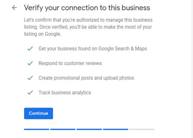 Screenshot of GMB's verification page