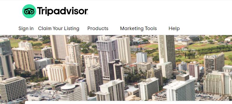 A screenshot of TripAdvisor's homepage for business users
