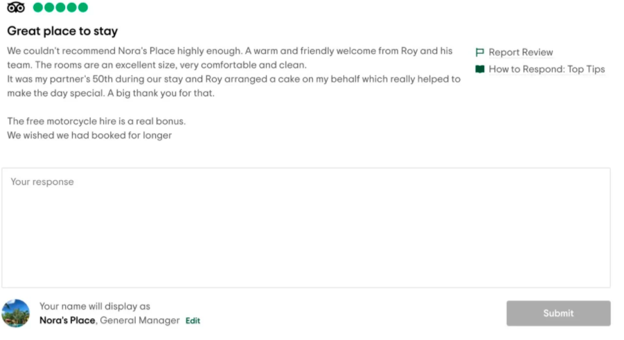A screenshot of the review response space on TripAdvisor