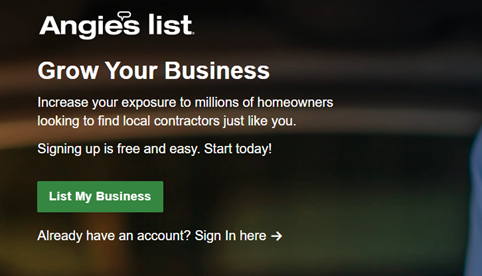 A screenshot of the signup page on Angie's list