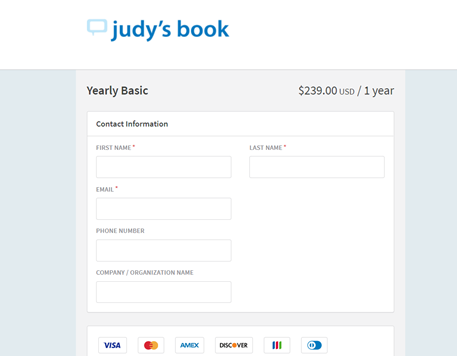 A screenshot of the contact information page on Judy's Book