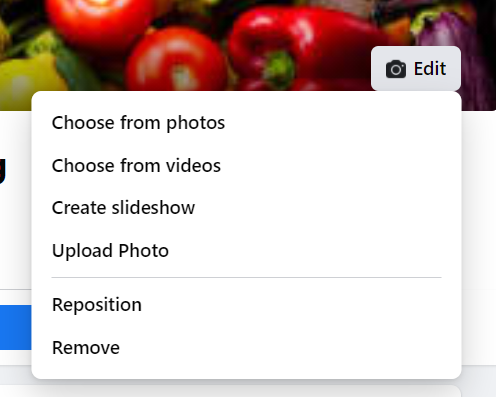 A screenshot of Facebook for Business' add a cover image option