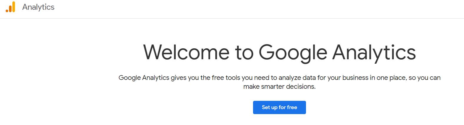 A screenshot of Google Analytics' homepage