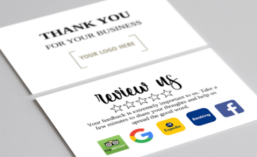 A photo of a Trustpilot co-branded Thank You note