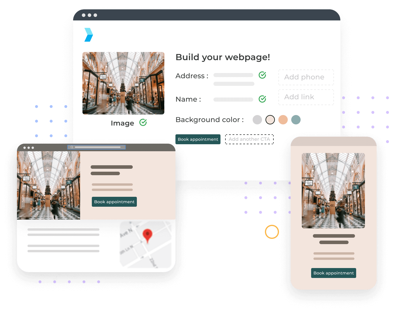 Layouts of what store pages will look like across desktop, tablet, and mobile devices