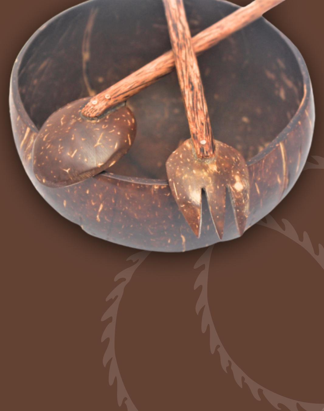 Jumbo Coconut Bowl + Spoon & Fork