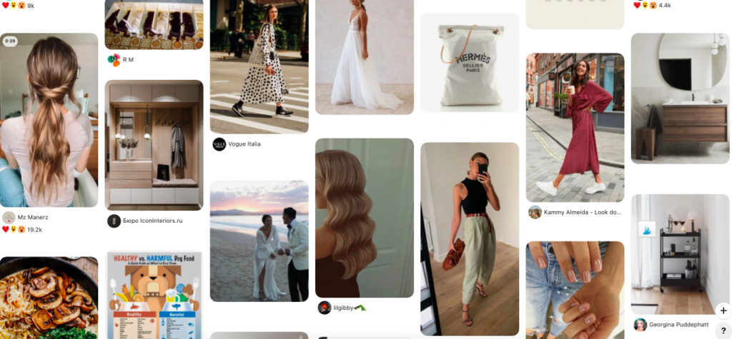 Pinterest home feed example