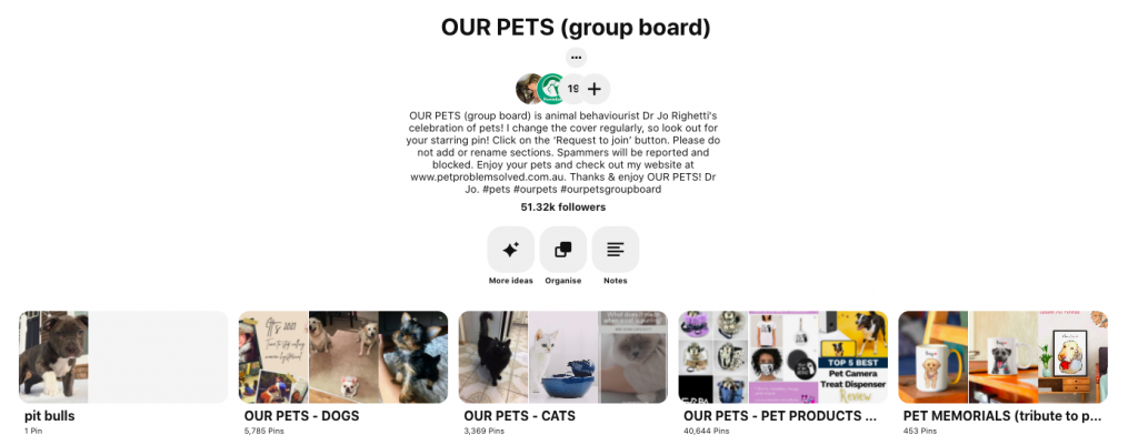 Pinterest Group boards example