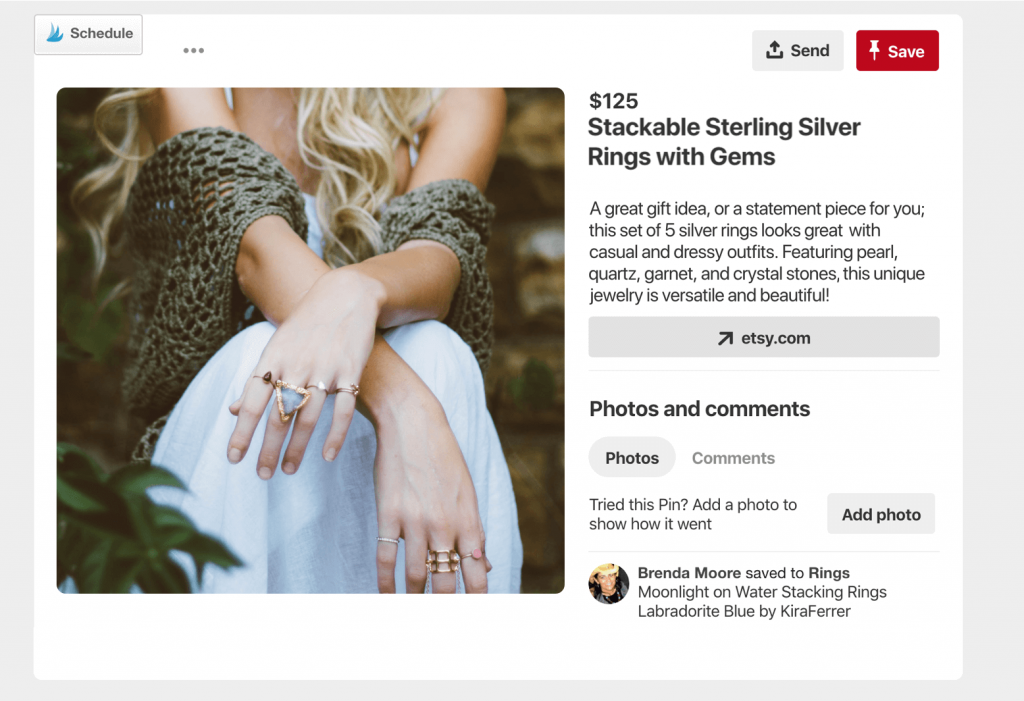 eCommerce Rich pin example