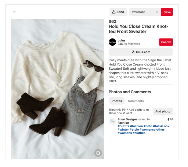 Pinterest product pin example