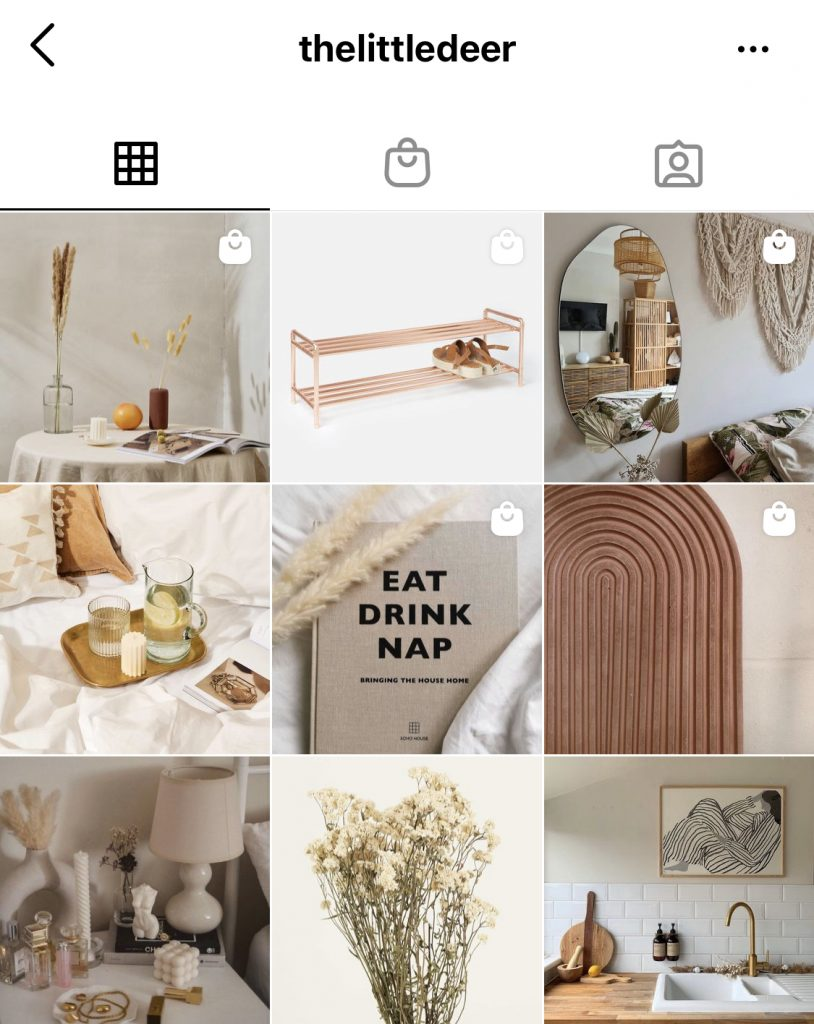 Shoppable IG feed example