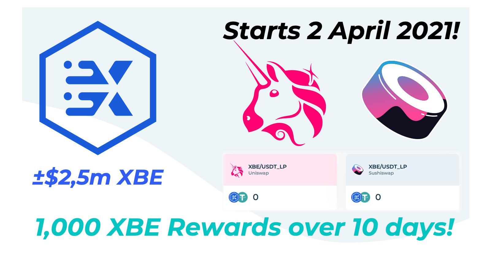 The big XBE liquidity reward starts ~9am UTC Friday 2 April 2021!