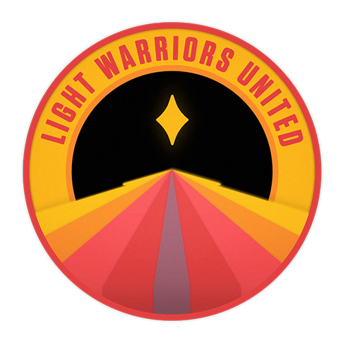 Light Warriors United Logo Badge Star in Center with rainbow rays emanating from the center below the star.