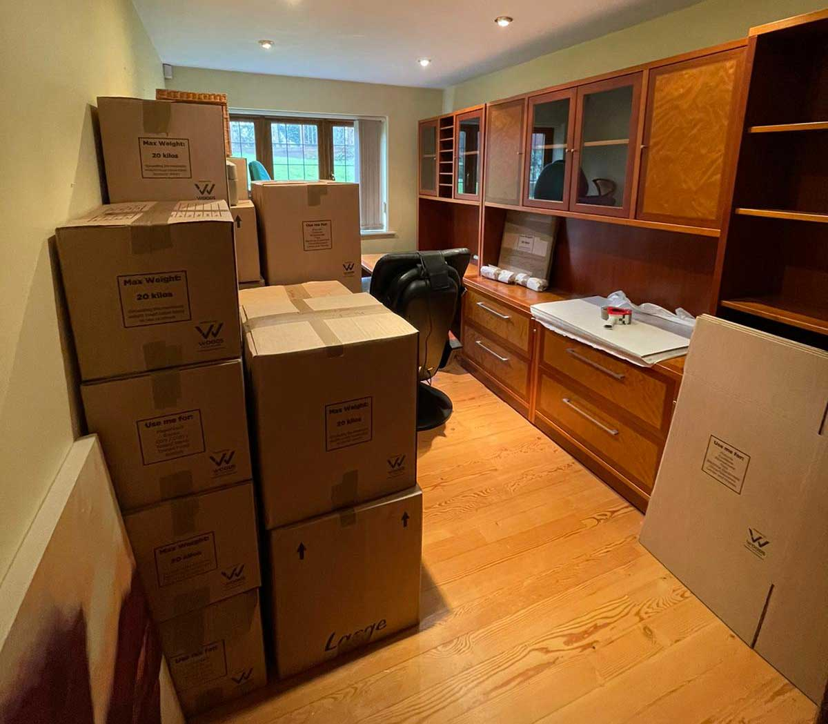 An office in a house all packed up and ready to move by A1 Removals & Storage