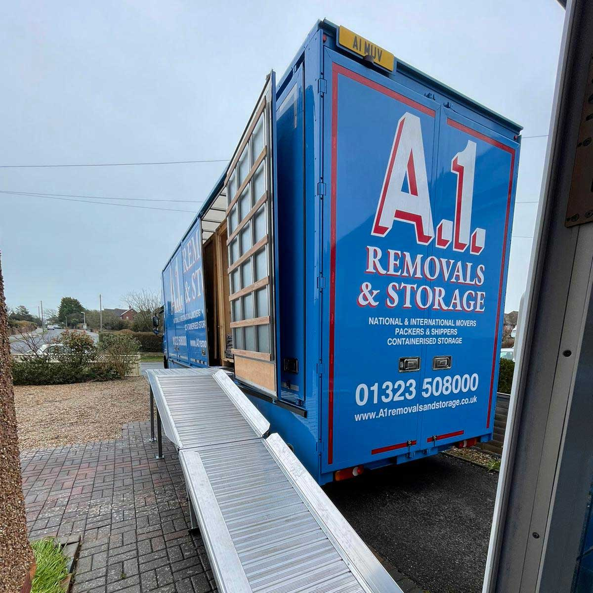 A1 Removals & Storage Truck with ramp down