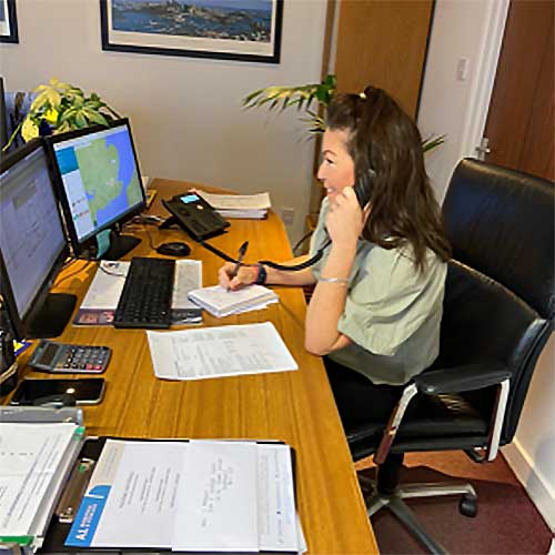 Jade working in the A1 Removals office