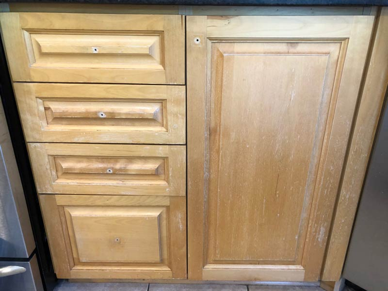 Cabinet refinishing project before
