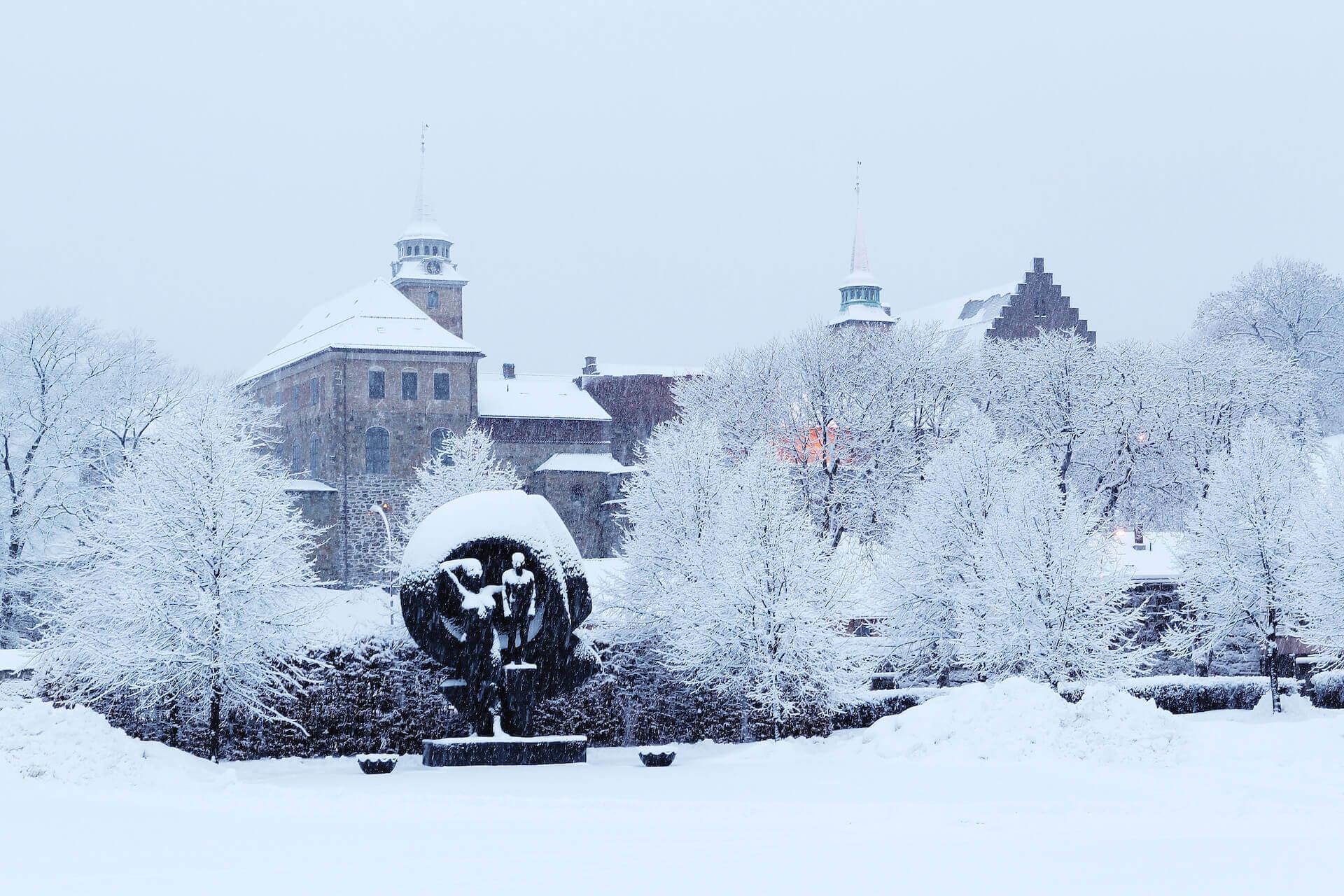 Vinterstemmning på Akershus festning.