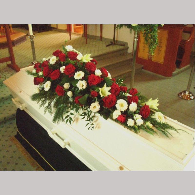 Kistedekorasjon A003 Røde og hvite blomster