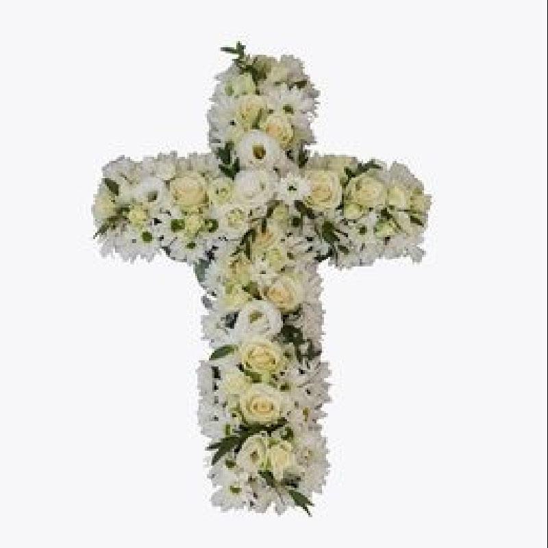 E005. Kors i hvite blomster