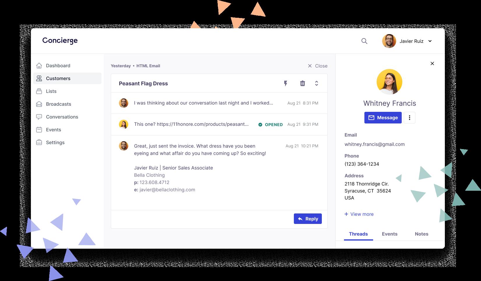 Concierge messaging UI