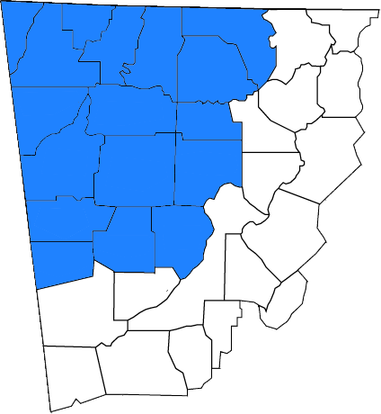 Map of Georgia counties served