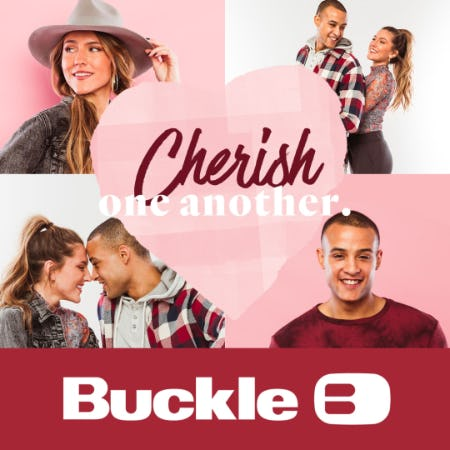 "four photos in a grid of a man with a red and grey tie die shirt and a woman with a light grey hat and dark grey denim jacket. One photo of each of them and two photos of them posing together. With a transparent heart that says ""Cherish One Another"""