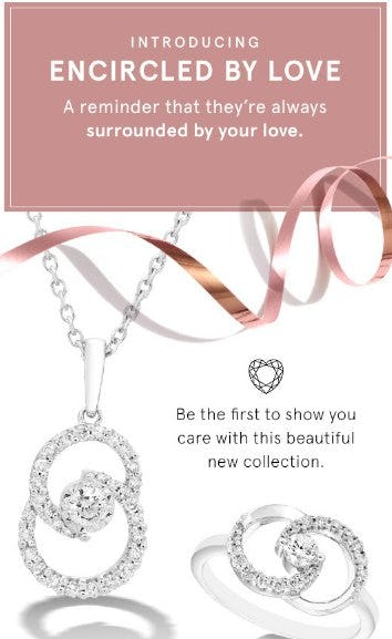 photos of the new encircled by love collection from Kay with two swirled circles with diamonds: a necklace and a ring