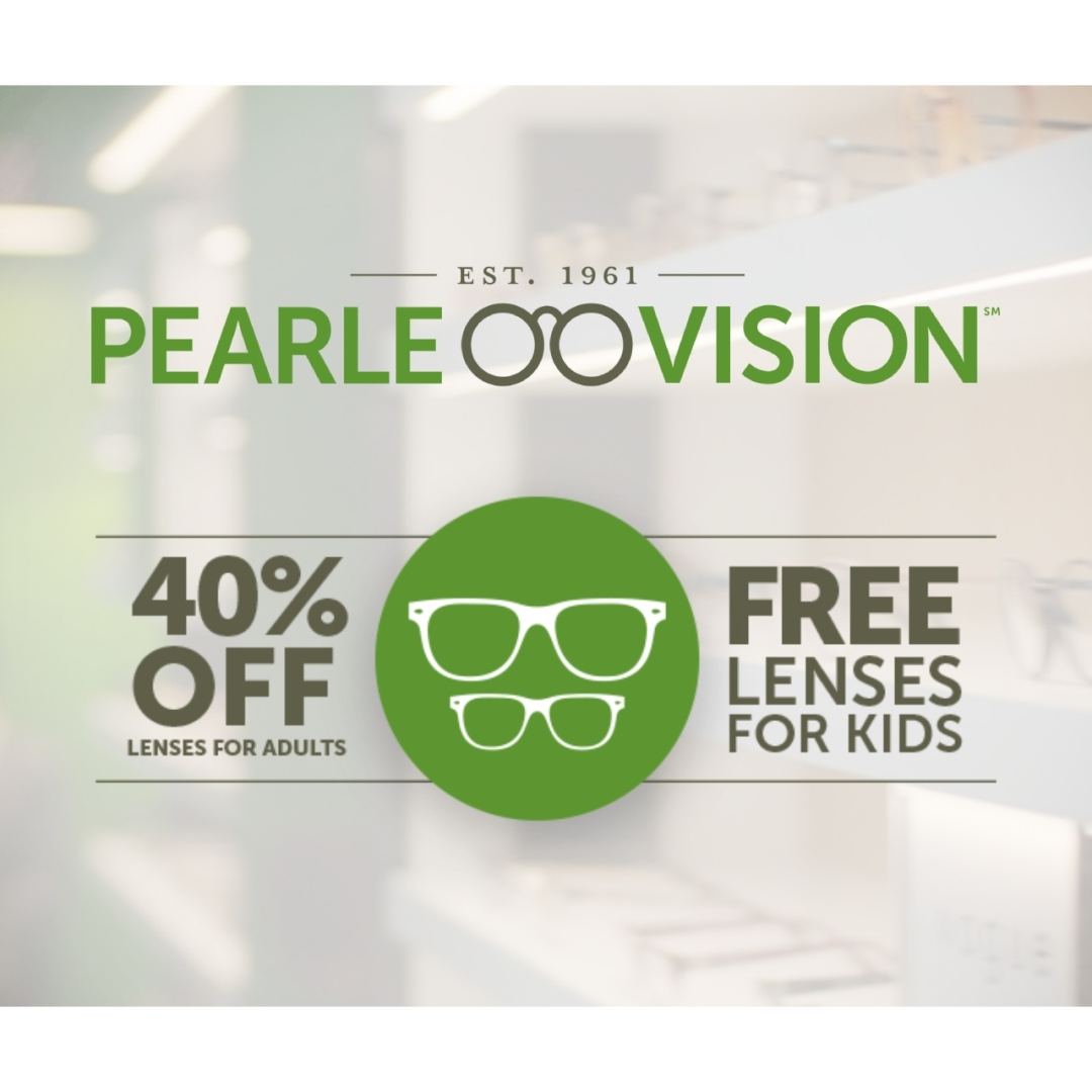 pearle vision 40 percent off and free lenses text detail