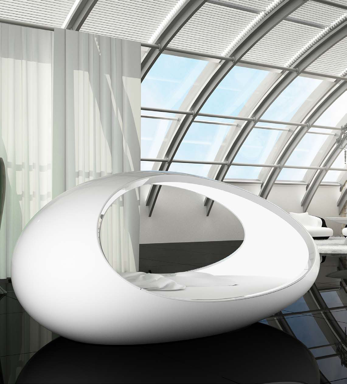The Lomme Egg Shaped bed in a modern setting