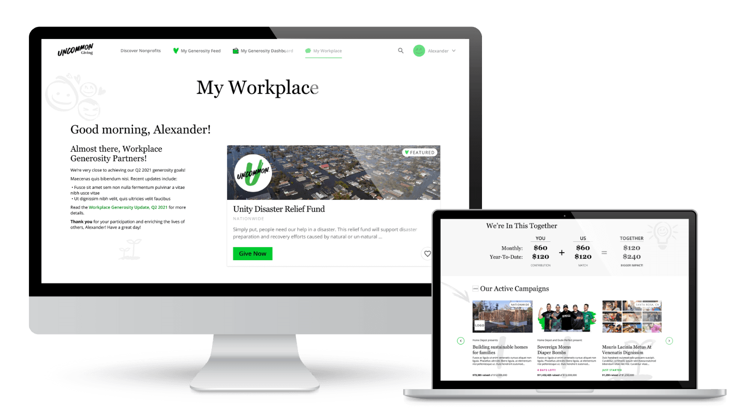 Uncommon Giving workplace platform shown on Mac computer and Macbook.