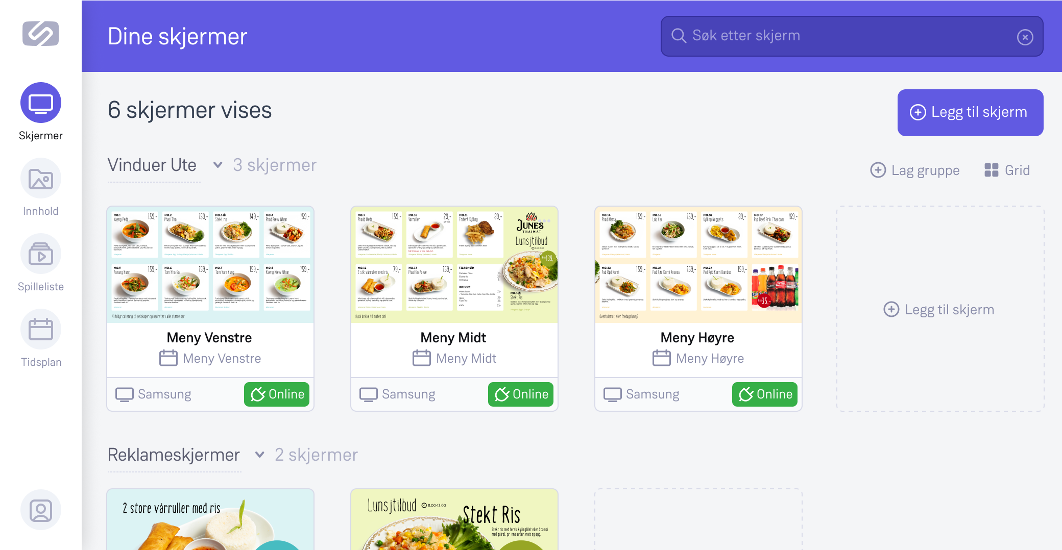 Slik ser Screenz applikasjonen ut med flere aktiver skjermer i din konto.