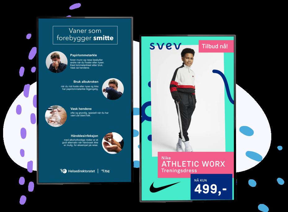 Slik ser typiske skjermer med reklame og tilbud ut.
