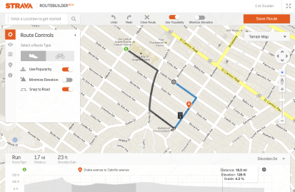 A screenshot of strava's route builder, a visual ride and run planning tool. The image shows a Google map with controls that provide options to use popularity to plot the route, minimize elevation, ride versus run activity, and a panel below the map that shows the routes distance and elevation.