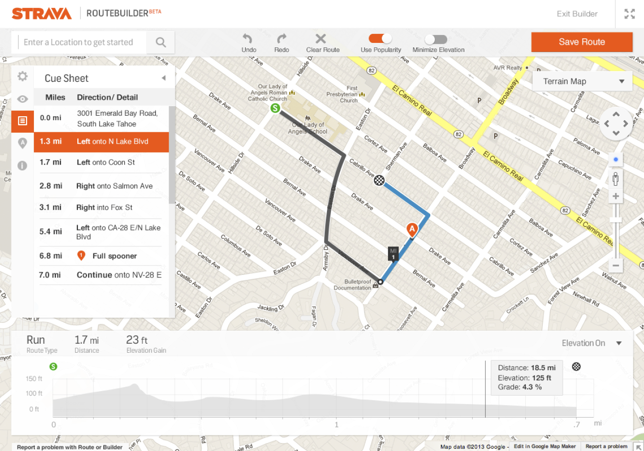 The final design of Strava's Route Builder. The image shows a Google Map with white and gray user interface overlaid.