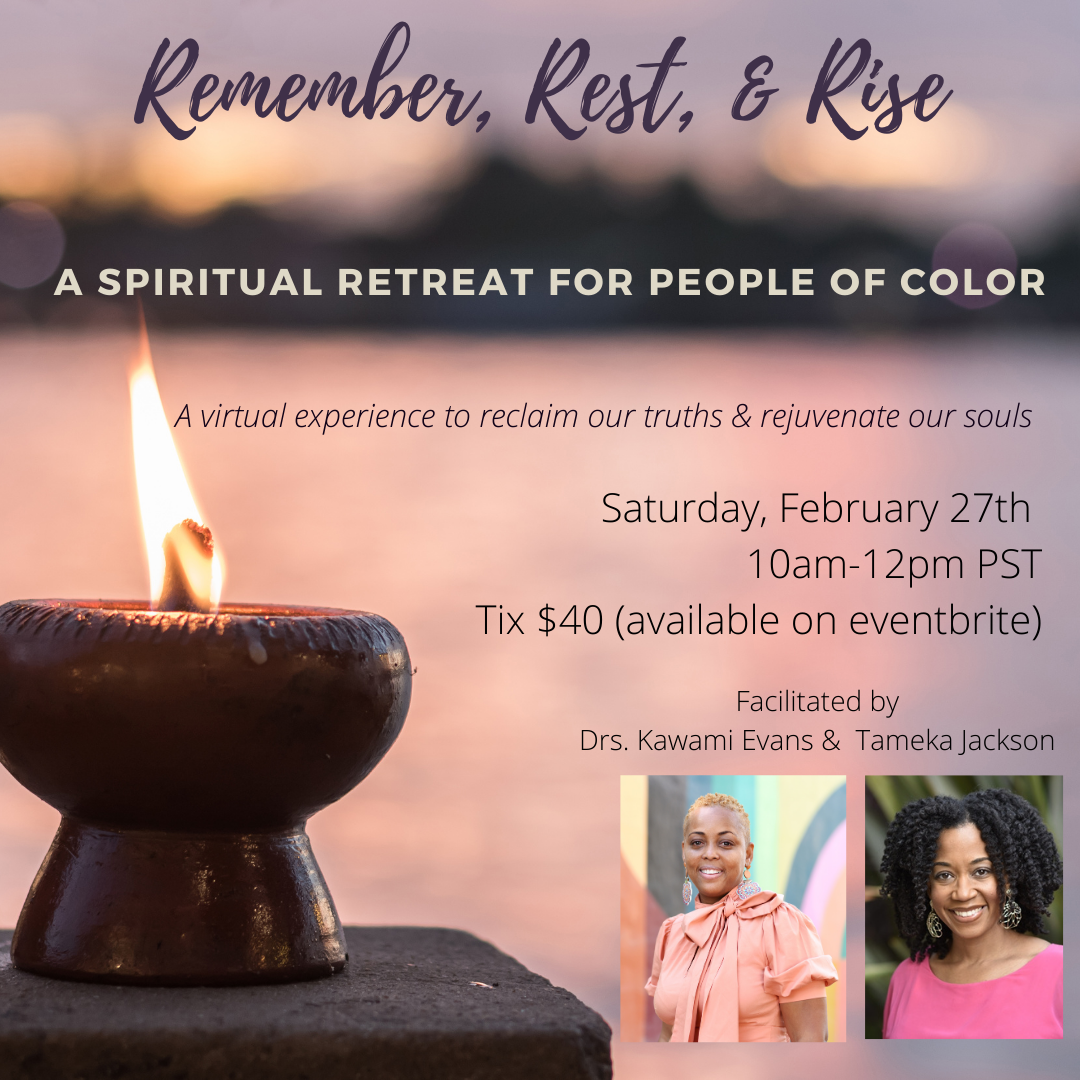 A candle and text that provides details about an event. In the corner of the main image are two profile pics of the event speakers.